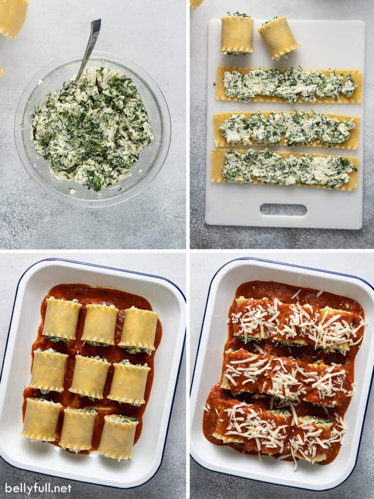 4 picture collage of lasagna rolls being made