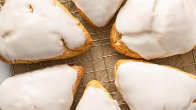 overhead of 6 glazed scones
