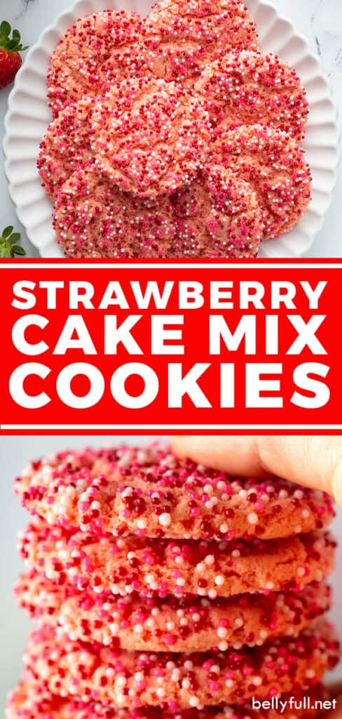 2 picture pin for Strawberry Cake Mix Cookies recipe