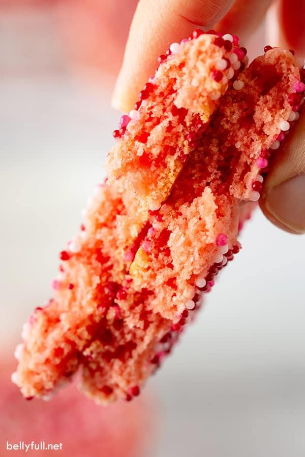 strawberry cookie split in half close up