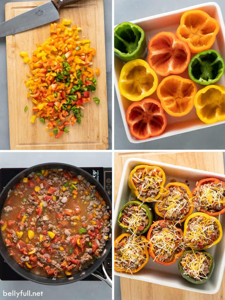 4 picture collage of stuffed bell peppers being made