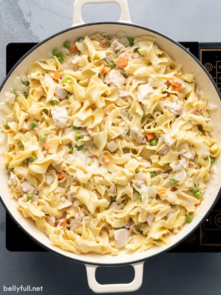 tuna noodle casserole in baking dish