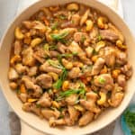 overhead cashew chicken stir fry in skillet