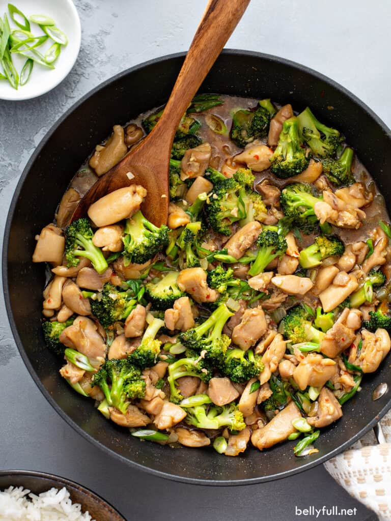 overhead chicken and broccoli stir fry in skillet