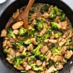 overhead chicken broccoli stir fry in skillet