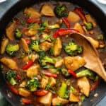 chicken and vegetable stir fry in skillet