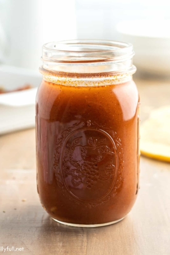 enchilada sauce in mason jar