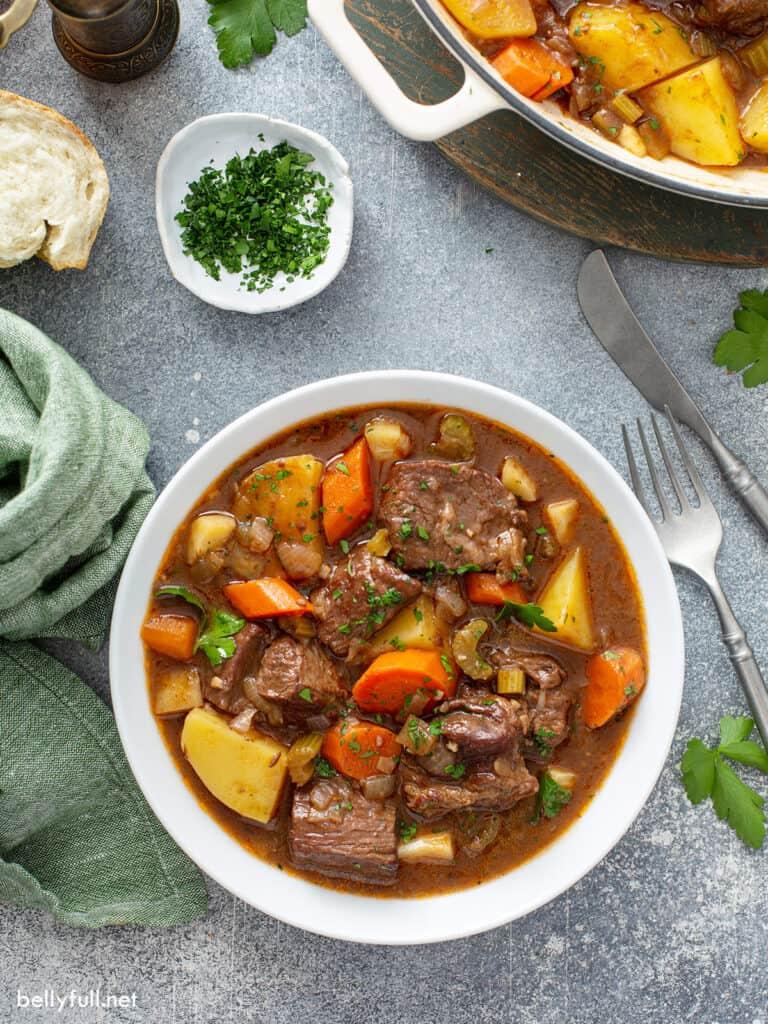overhead Irish Beef Stew in white bowl