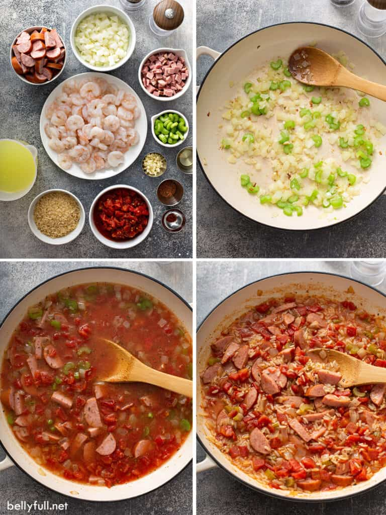 4 picture collage Jambalaya step by step