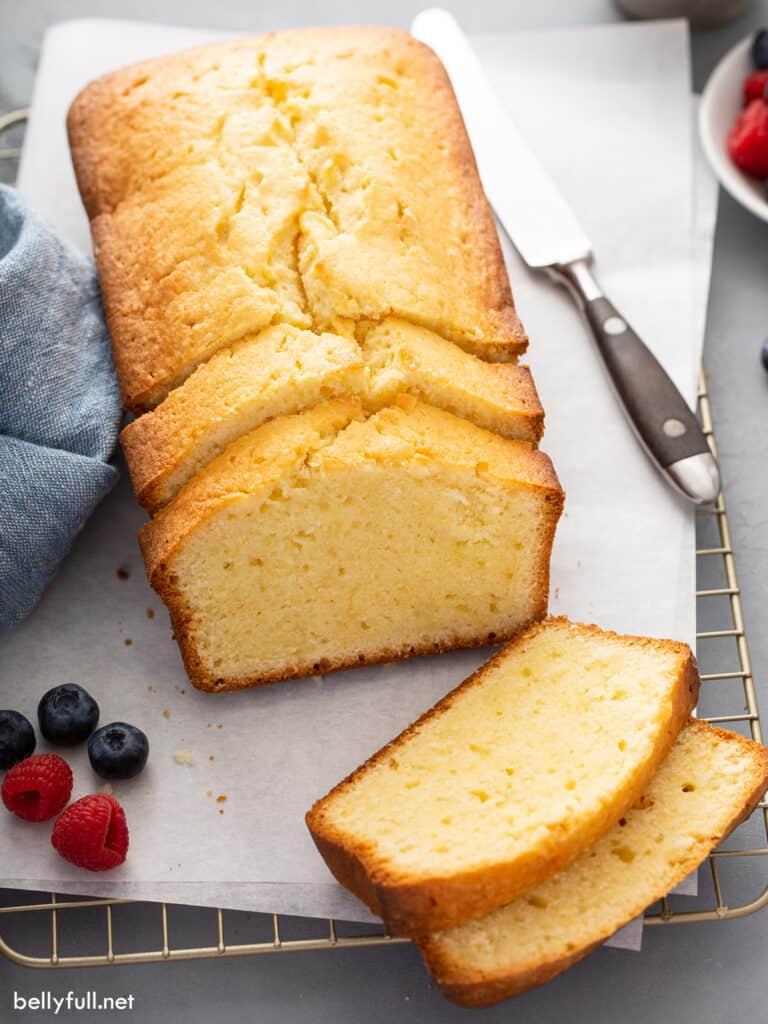 loaf of sliced pound cake