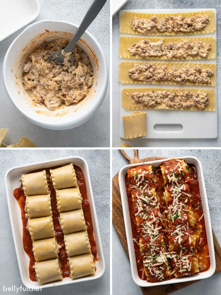 4 picture collage for lasagna rolls being made