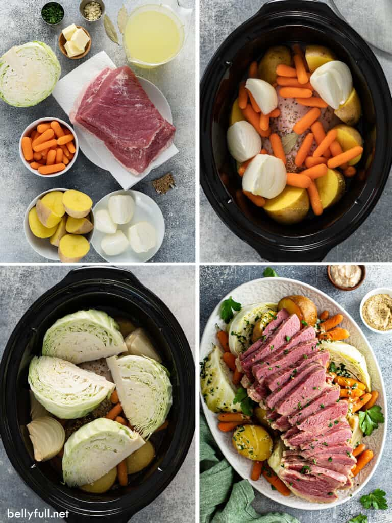 4 picture collage of steps to make crock pot corned beef