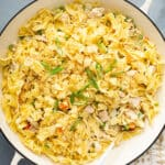 overhead tuna noodle casserole with potato chips