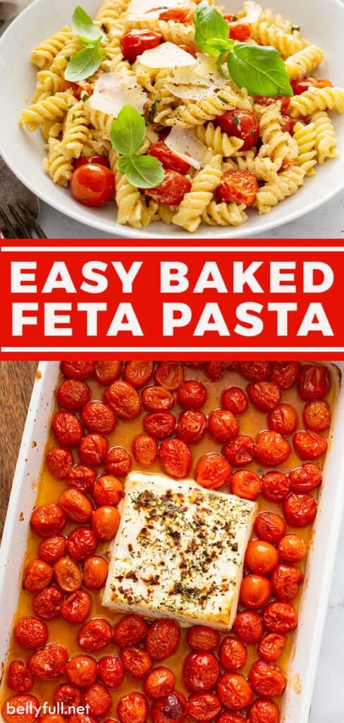 pin for baked feta pasta recipe