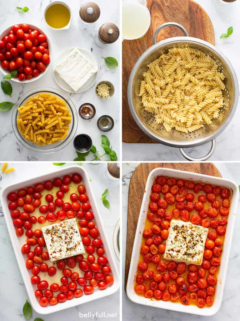 4 picture collage of how to make baked feta pasta with tomatoes