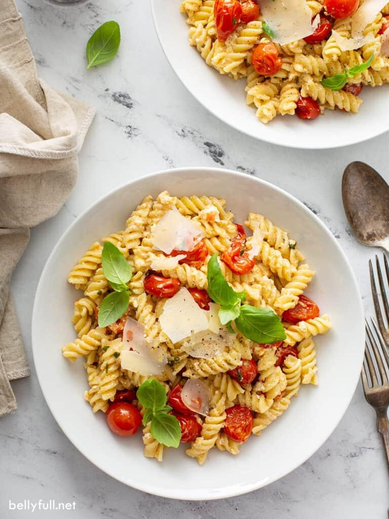 overhead baked feta pasta in white bowl