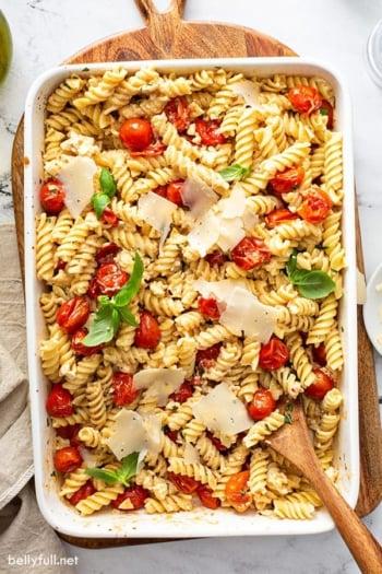 overhead baked feta pasta in white baking dish