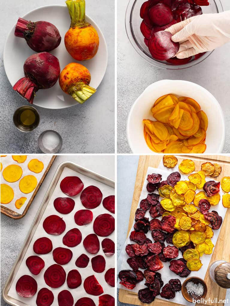 4 picture collage for how to make beet chips