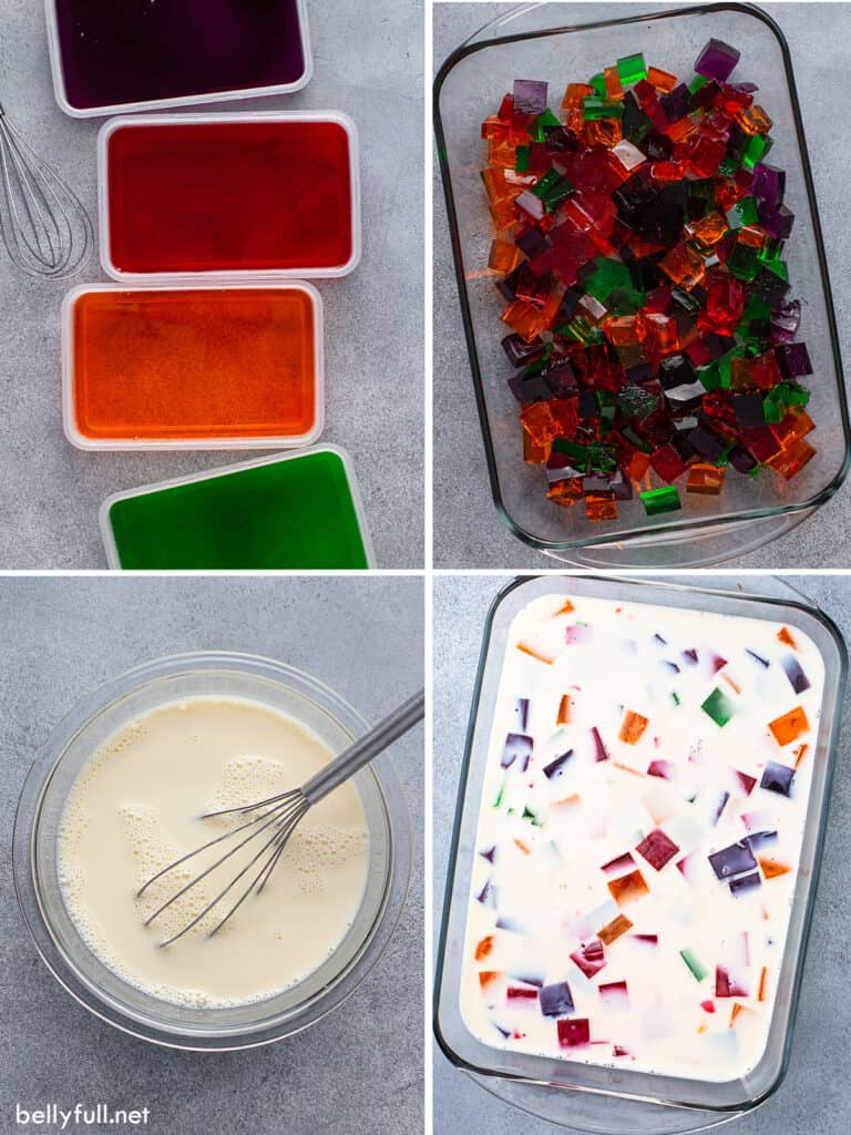4 picture collage of how to make broken glass jello