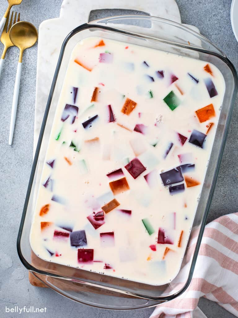 overhead Stained Glass Jello in glass baking dish, uncut