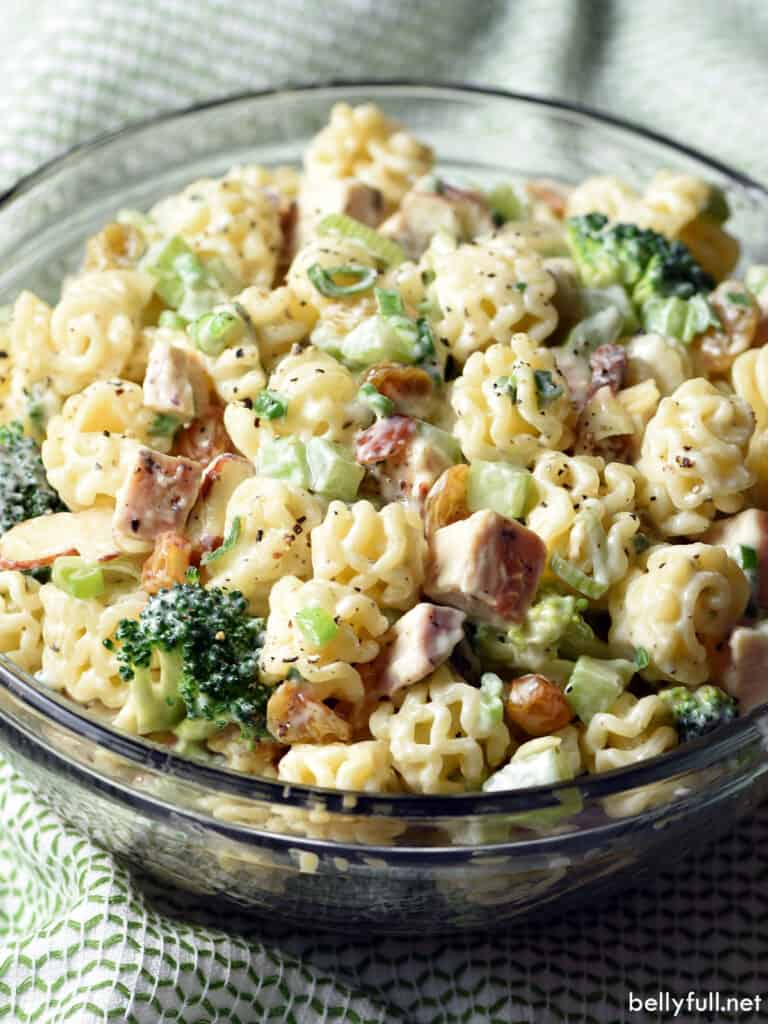 creamy pasta salad with chicken and broccoli in serving bowl