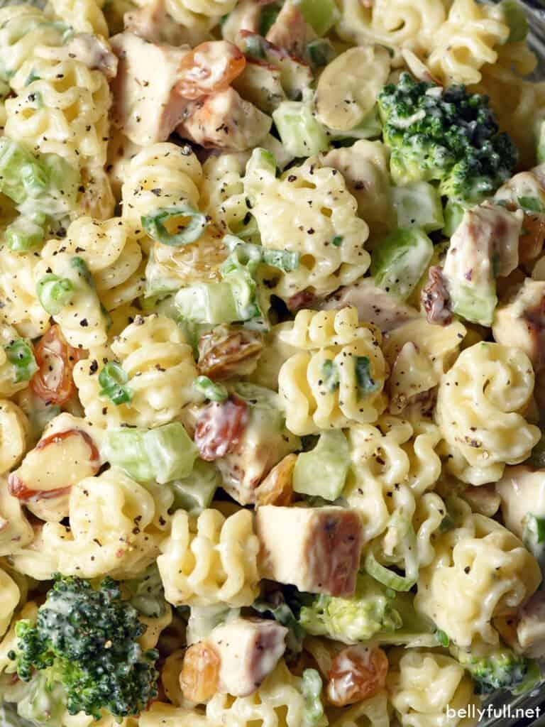 close up chicken broccoli pasta salad