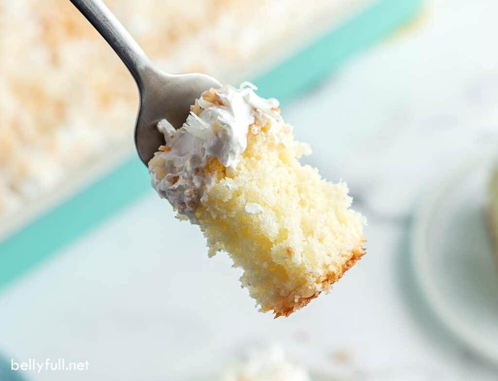 bite of cake on fork close up