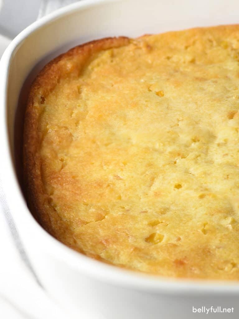 corn pudding in casserole dish