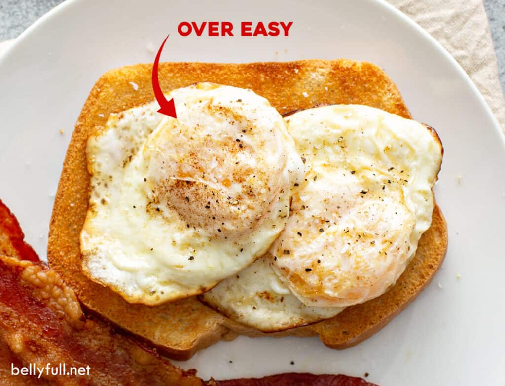 over easy fried eggs on toast