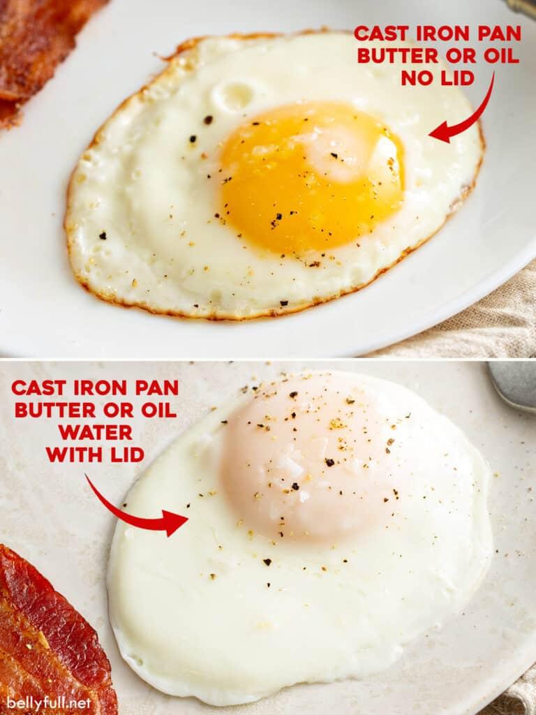 fried egg no lid verses fried egg steamed with lid comparison