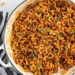 overhead shot of cooked cheeseburger macaroni in pot