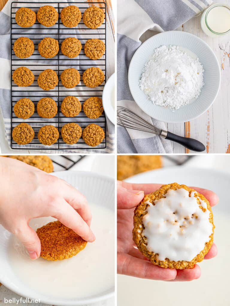4 picture collage of how to make ice oatmeal cookies