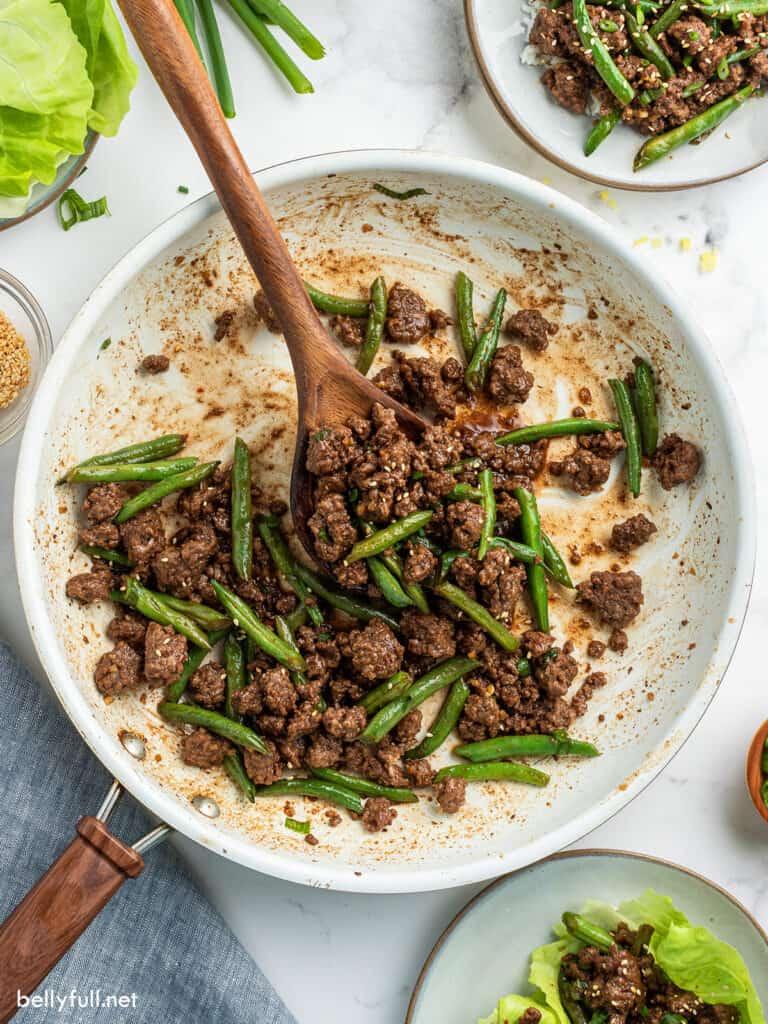 overhead Korean Ground beef in skillet