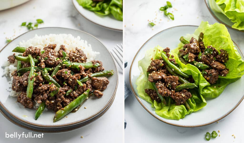 Korean ground beef on rice and in lettuce cups