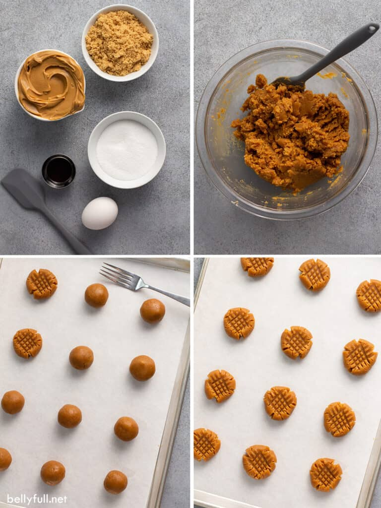 4 picture collage of how to make peanut butter cookies