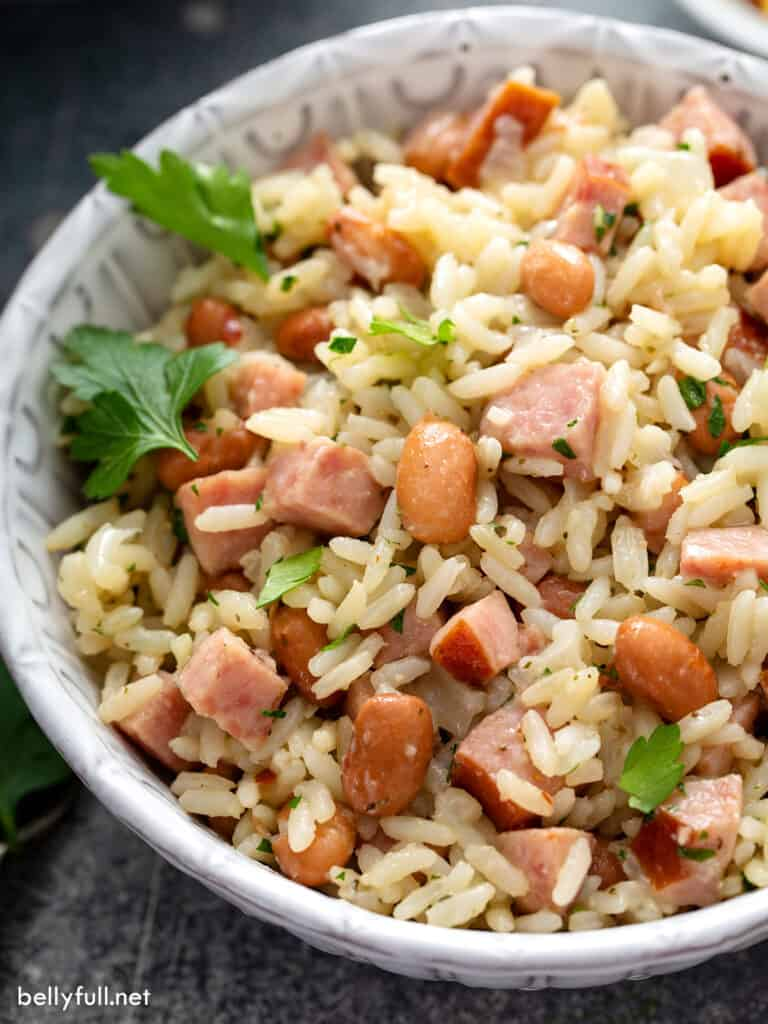 serving of rice and beans with kielbasa in bowl