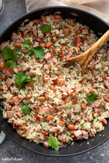 top down cooked rice and beans in skillet