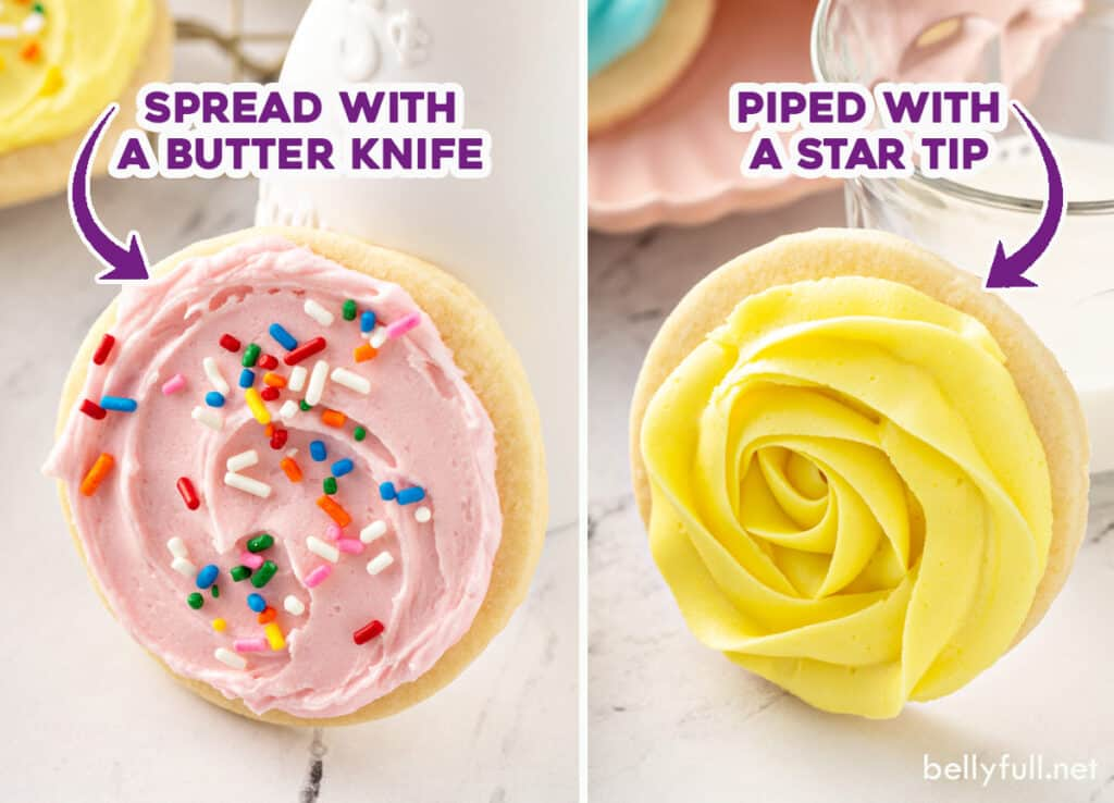 sugar cookie frosting spread and piped, side by side comparison