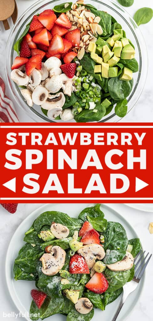 pin for strawberry spinach salad recipe