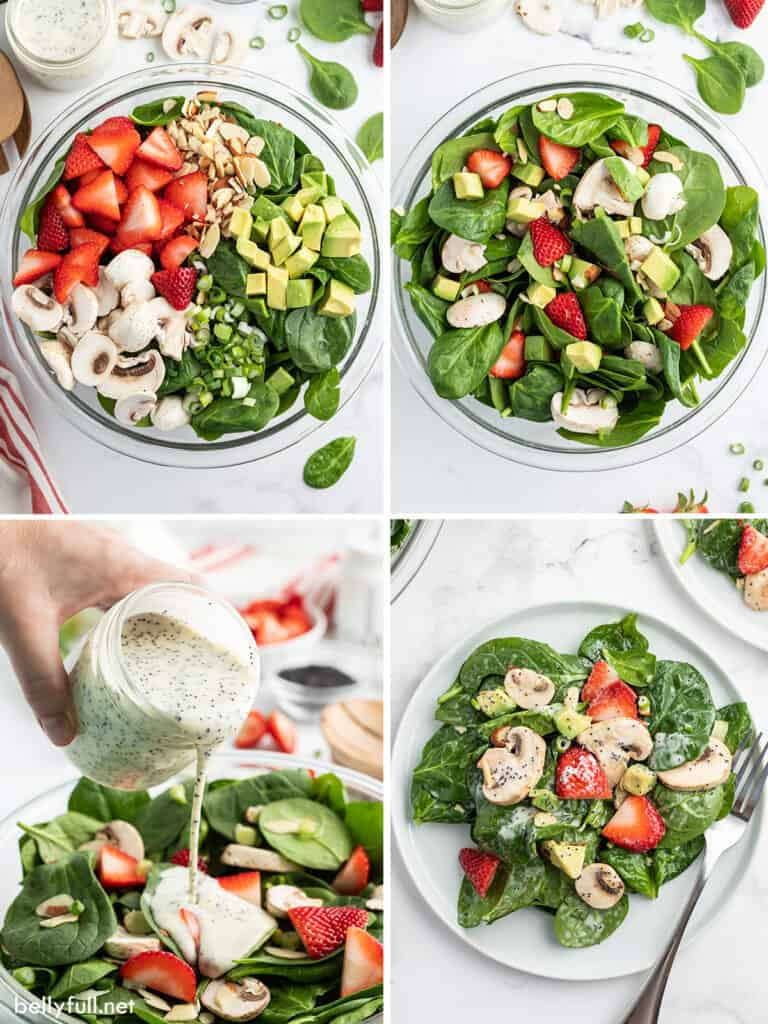 4 picture collage for how to make strawberry spinach salad