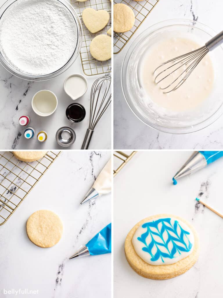 4 picture collage steps to make decorated sugar cookies with icing