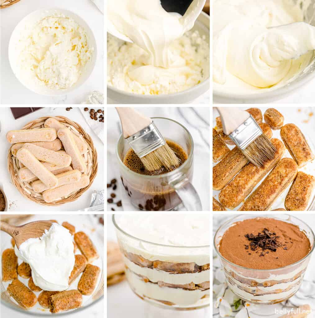 9 picture collage for how to make tiramisu trifle