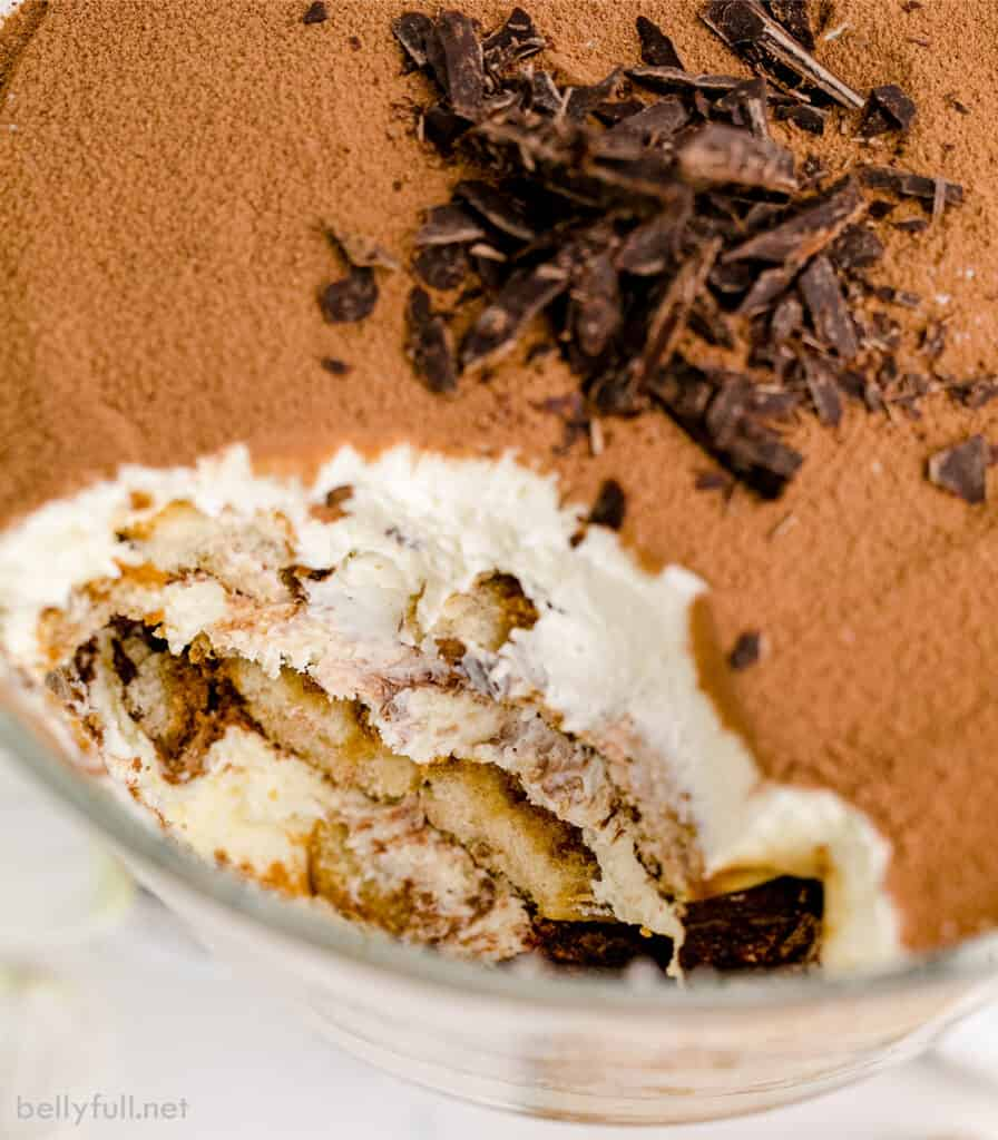 top down portion of tiramisu missing from serving bowl
