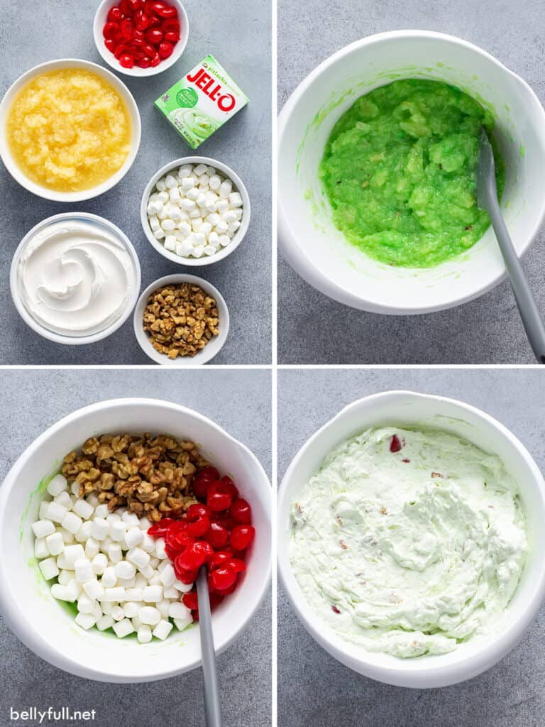 4 picture collage for how to make Watergate Salad