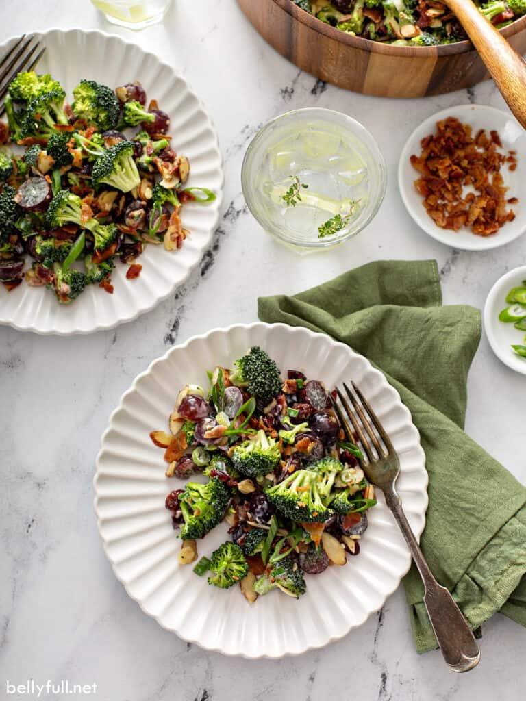 overhead portion of broccoli salad on white plate
