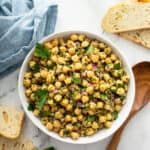 overhead white serving bowl filled with Chickpea Salad