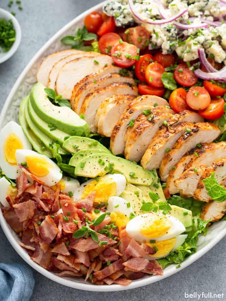 close up Cobb Salad on serving platter