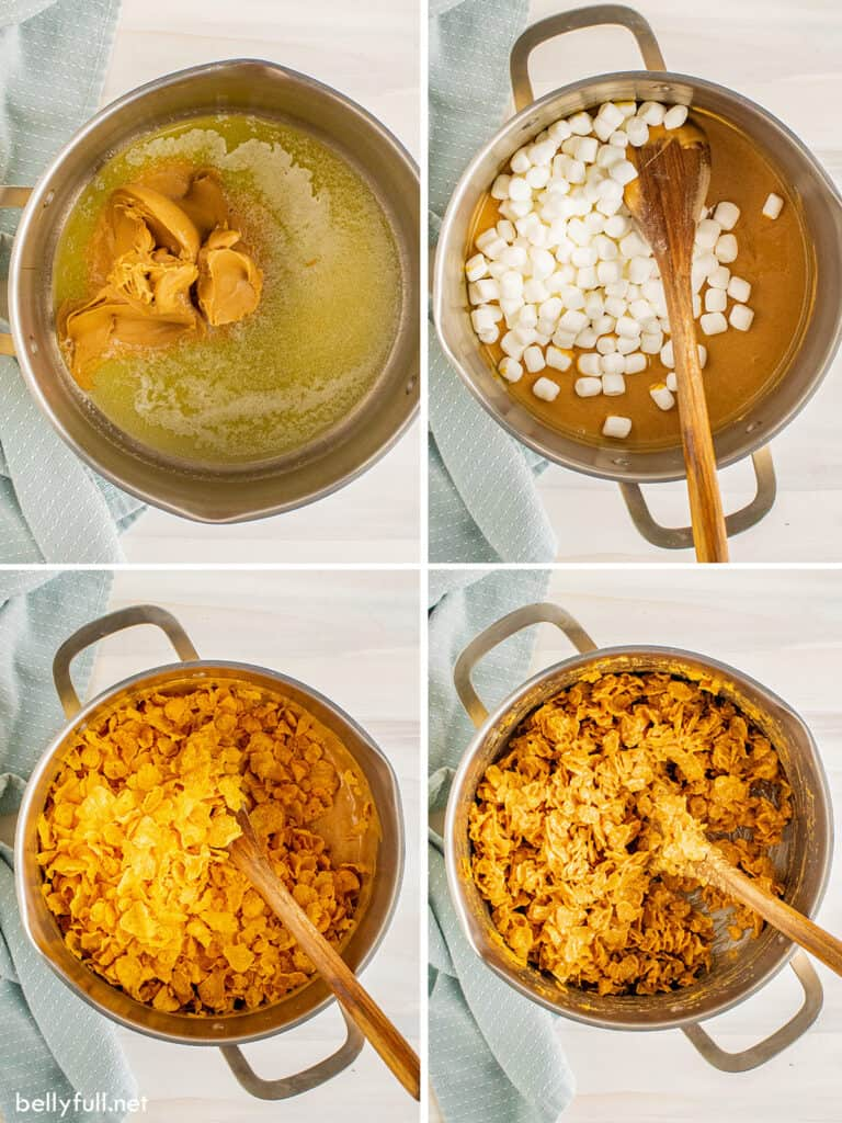 4 picture collage of marshmallow cornflake mixture in pot