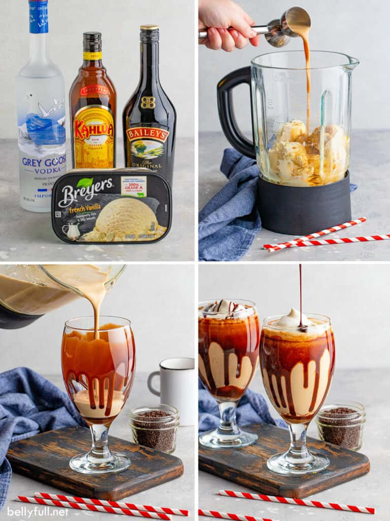 4 picture collage of how to make a frozen mudslide