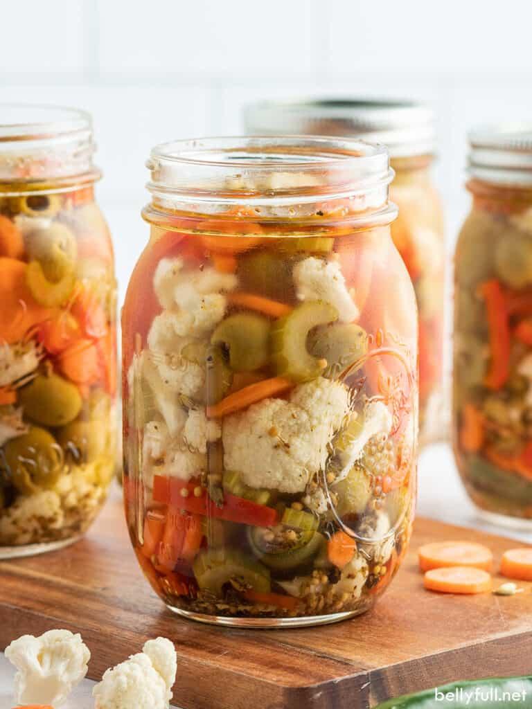 Homemade Giardiniera in glass jar